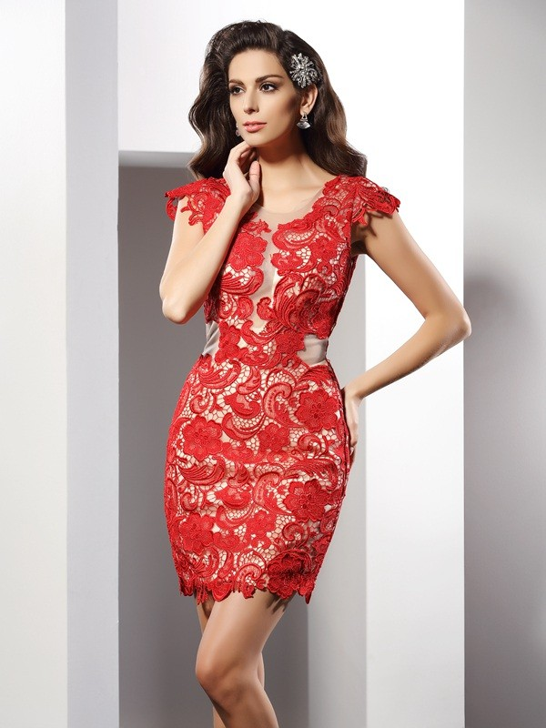 Scoop Short/Mini Red Homecoming Dresses with Lace