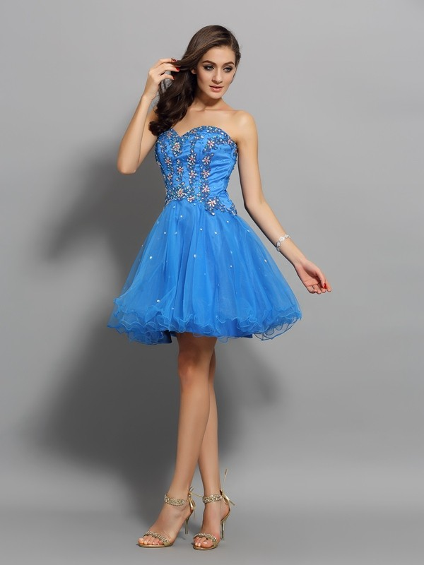 A-Line Sweetheart Short/Mini Royal Blue Homecoming Dresses