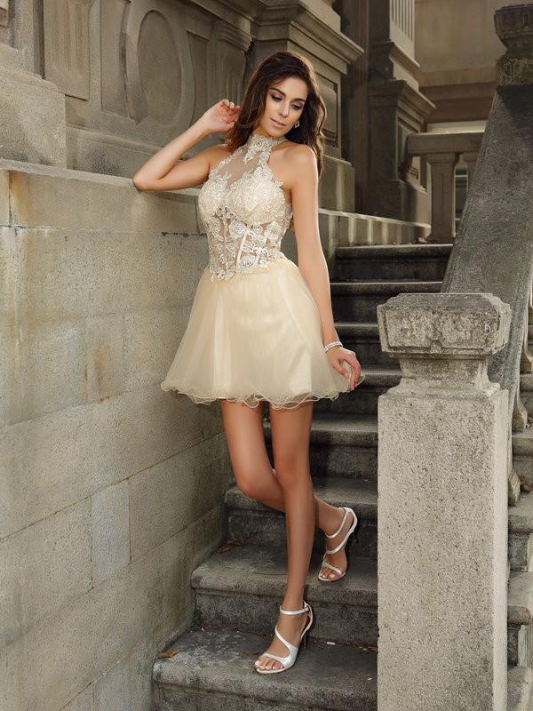 A-Line Tulle High Neck Short/Mini Champagne Homecoming Dresses