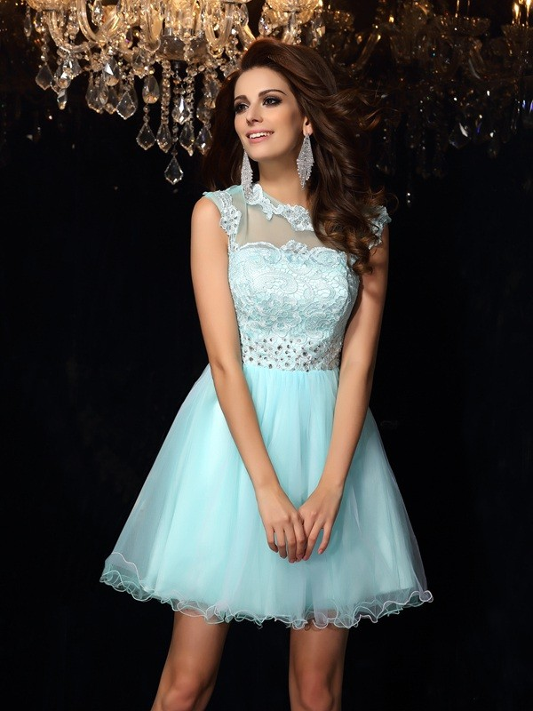 Elastic Woven Satin High Neck Short/Mini Light Sky Blue Prom Dresses