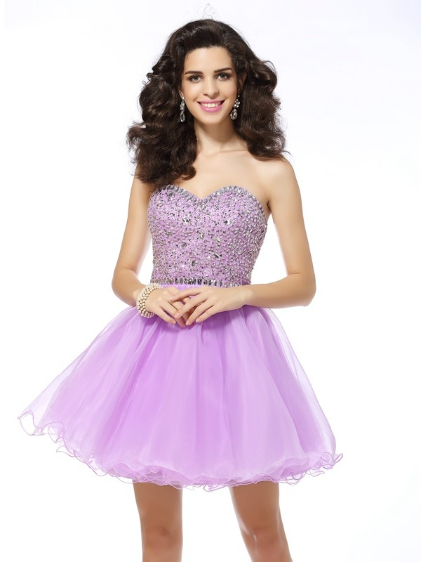 Organza Sweetheart Short/Mini Homecoming Dresses with Ruffles