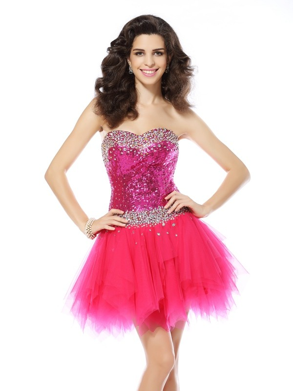 Sweetheart Short/Mini Fuchsia Homecoming Dresses with Beading