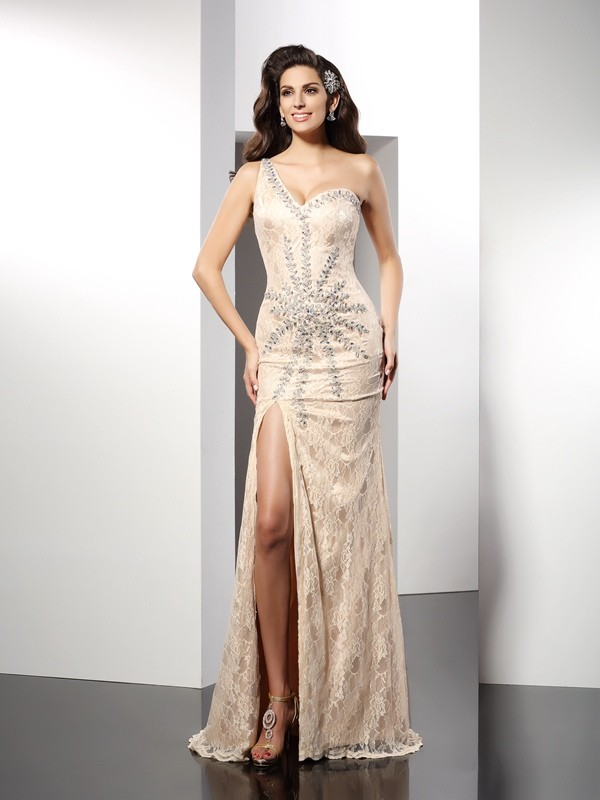 Elastic Woven Satin One-Shoulder Brush Train Champagne Prom Dresses