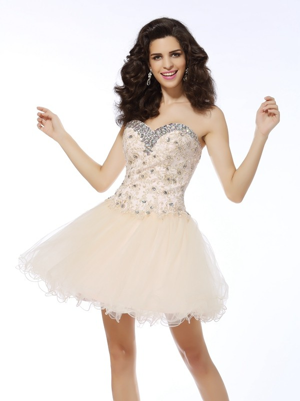 A-Line Sweetheart Short/Mini Champagne Homecoming Dresses