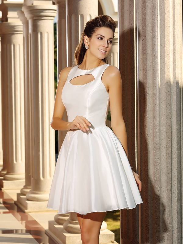 High Neck Short/Mini White Homecoming Dresses