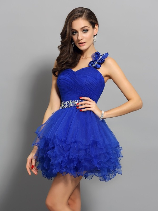 A-Line One-Shoulder Short/Mini Royal Blue Homecoming Dresses