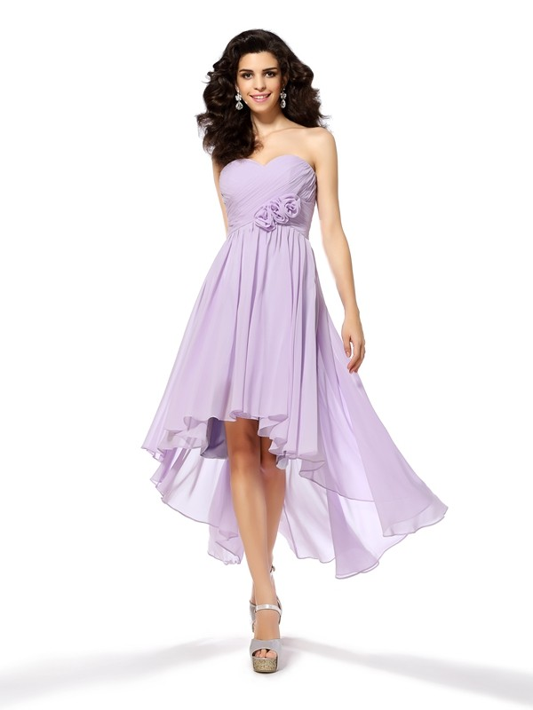 A-Line Sweetheart Asymmetrical Lavender Homecoming Dresses