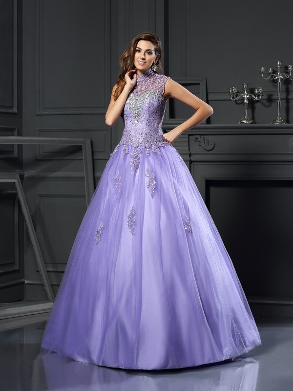 Ball Gown Net High Neck Floor-Length Regency Prom Dresses