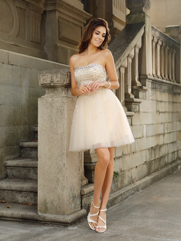 Strapless Short/Mini Champagne Homecoming Dresses with Beading