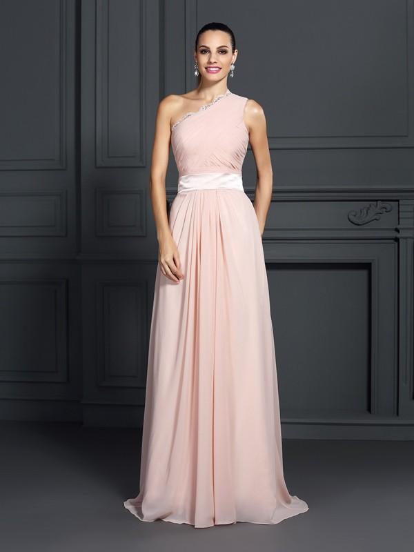 A-Line Chiffon One-Shoulder Brush Train Prom Dresses with Ruffles