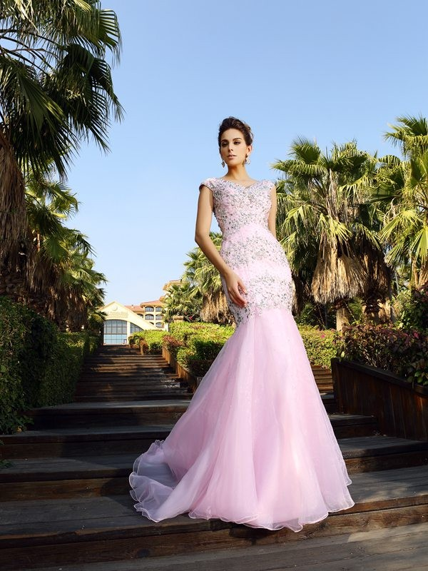 Mermaid V-neck Court Train Pink Prom Dresses