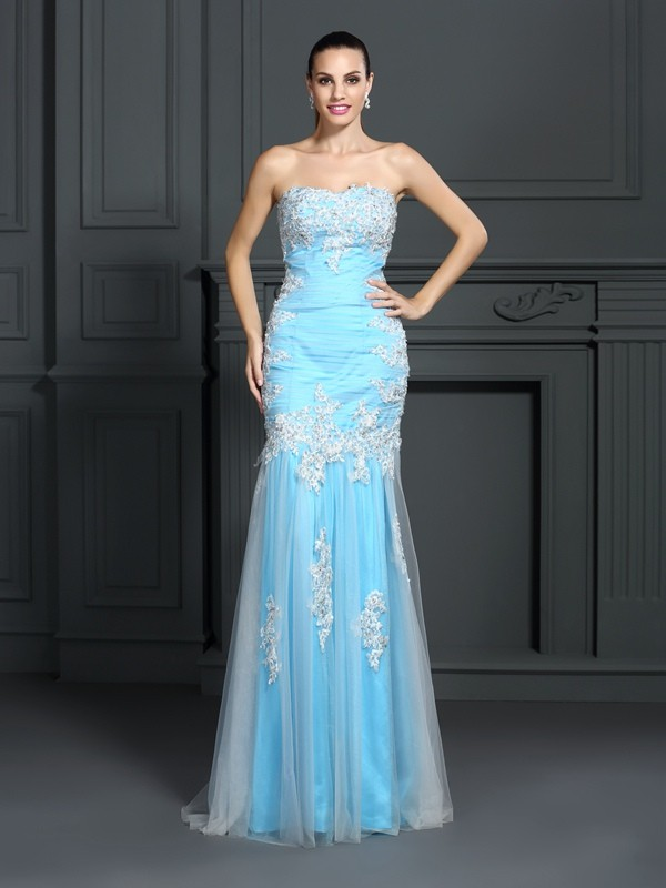 Blue Strapless Elastic Woven Satin Floor-Length Prom Dresses