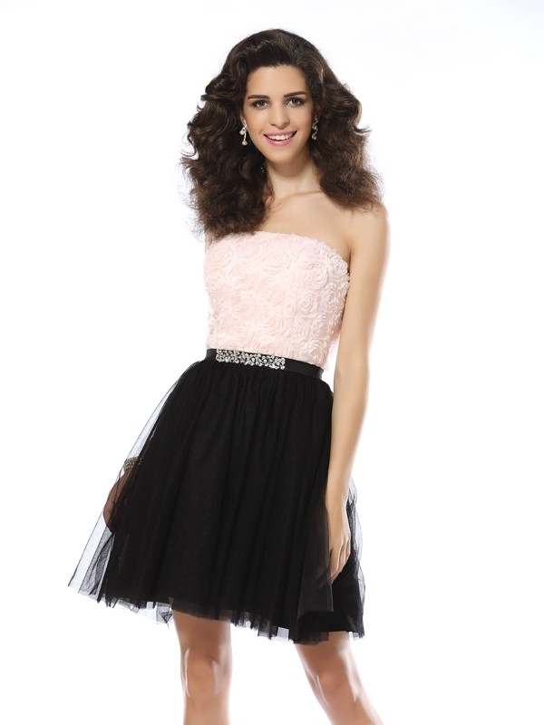 Black Strapless Tulle Short/Mini Homecoming Dresses