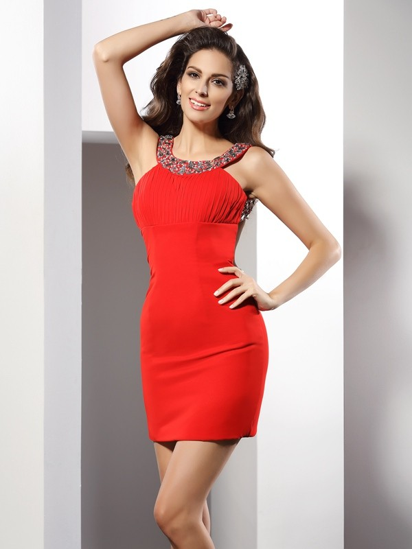 Sheath Scoop Short/Mini Red Homecoming Dresses
