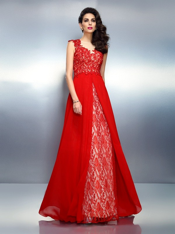 A-Line Bateau Brush Train Red Prom Dresses