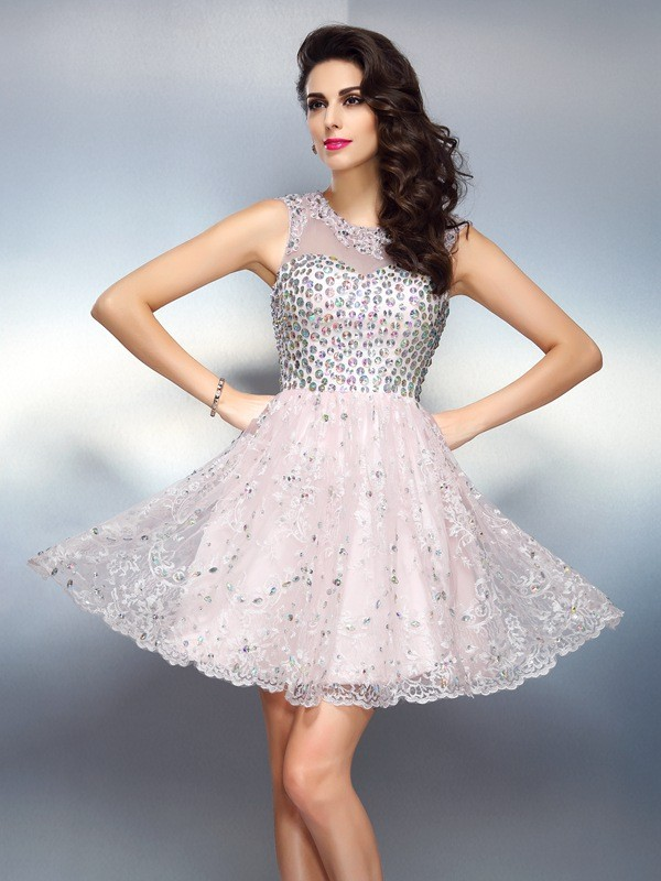 Satin A-Line Short/Mini Bateau Pink Homecoming Dresses