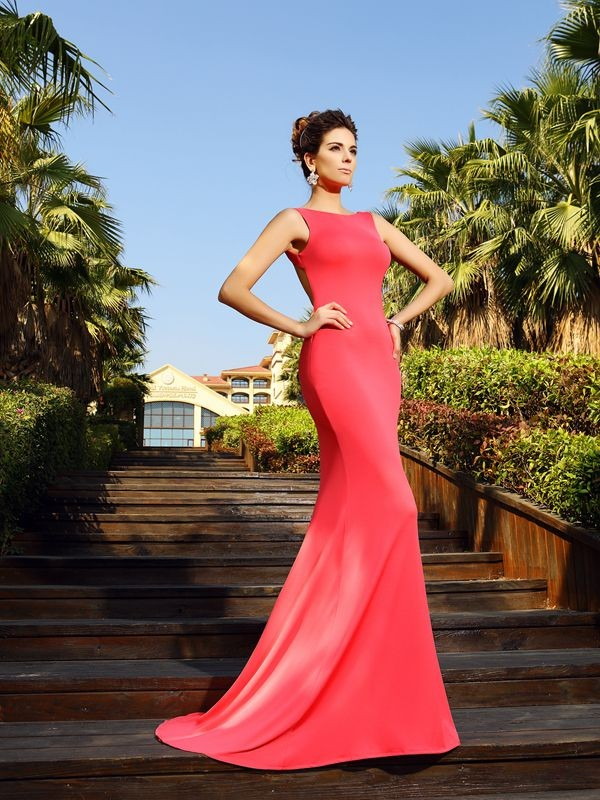 Bateau Court Train Watermelon Prom Dresses