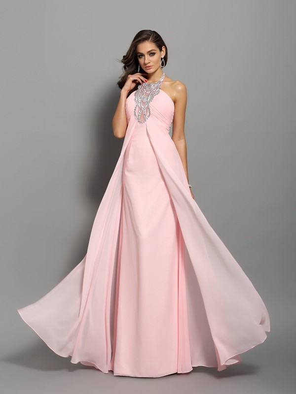 Chiffon High Neck Floor-Length Pink Prom Dresses