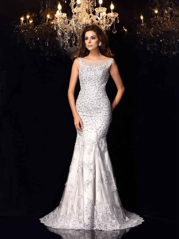 Chapel Train Ivory Scoop Prom Dresses with Beading