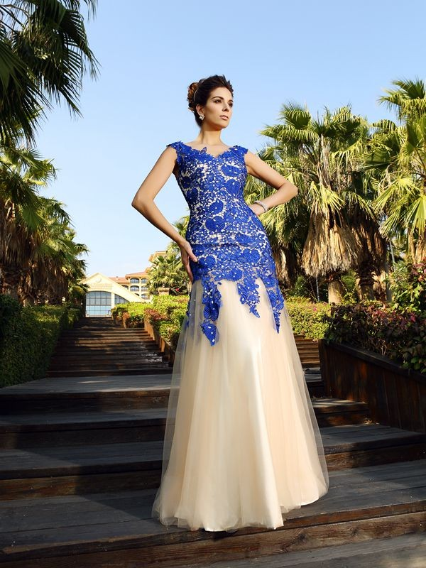 Sheath V-neck Floor-Length Champagne Prom Dresses