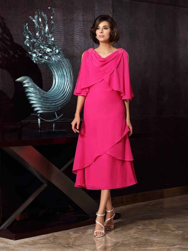 Chiffon Tea-Length Scoop Fuchsia Mother of the Bride Dresses