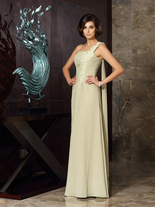 Chiffon Floor-Length One-Shoulder Sage Mother of the Bride Dresses