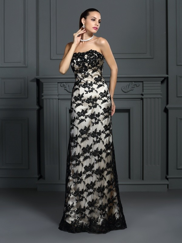 Elastic Woven Satin Strapless Brush Train Champagne Prom Dresses