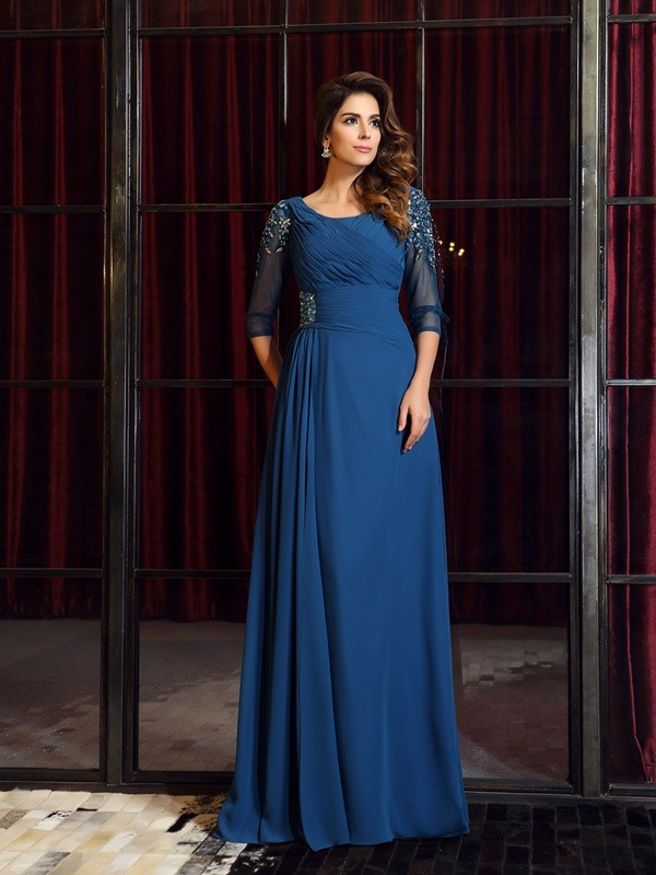 A-Line Half Sleeves Square Floor-Length Royal Blue Prom Dresses