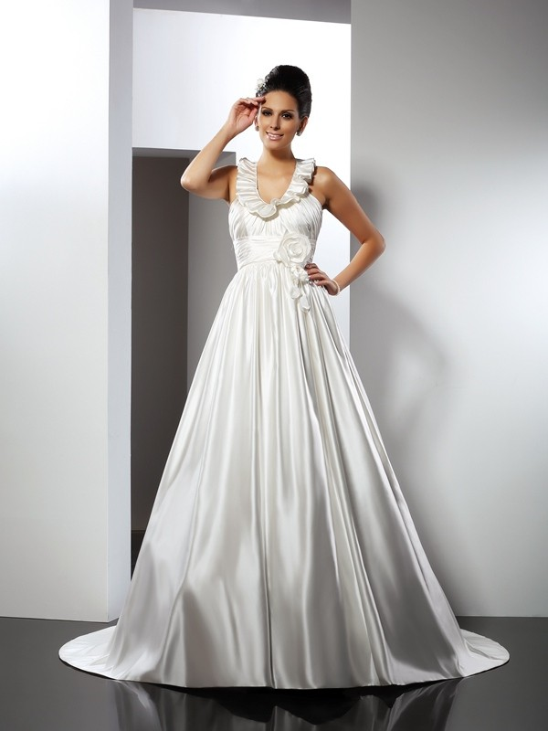 Satin Halter Chapel Train Ivory Wedding Dresses