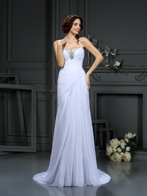 Sheath Chiffon Sweetheart Brush Train Wedding Dresses with Beading