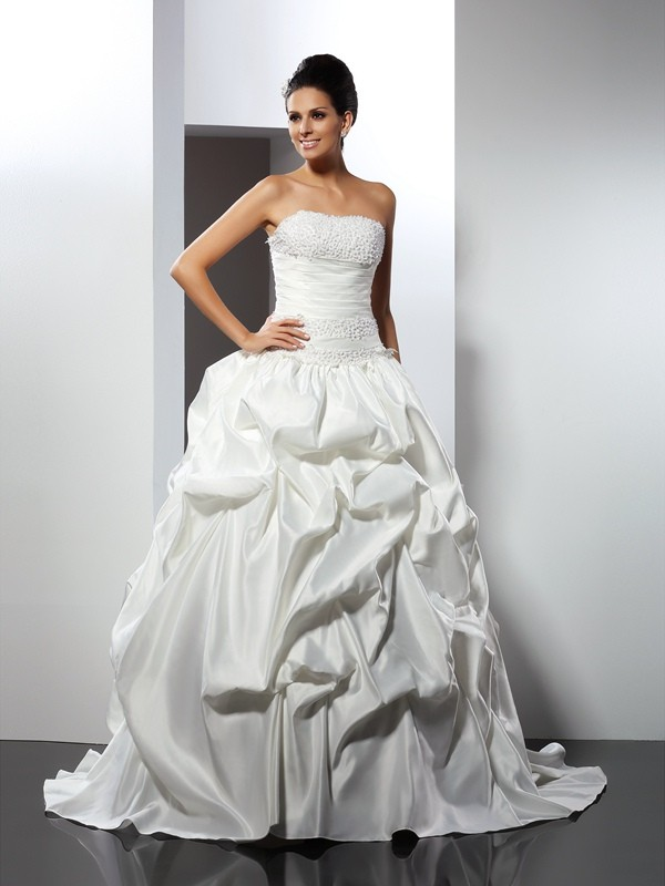 Satin Strapless Cathedral Train Ivory Wedding Dresses