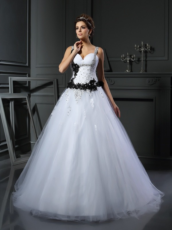 Ball Gown Straps Chapel Train White Wedding Dresses