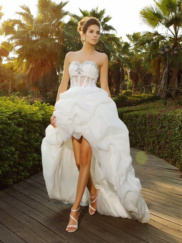 A-Line Sweetheart Asymmetrical White Wedding Dresses