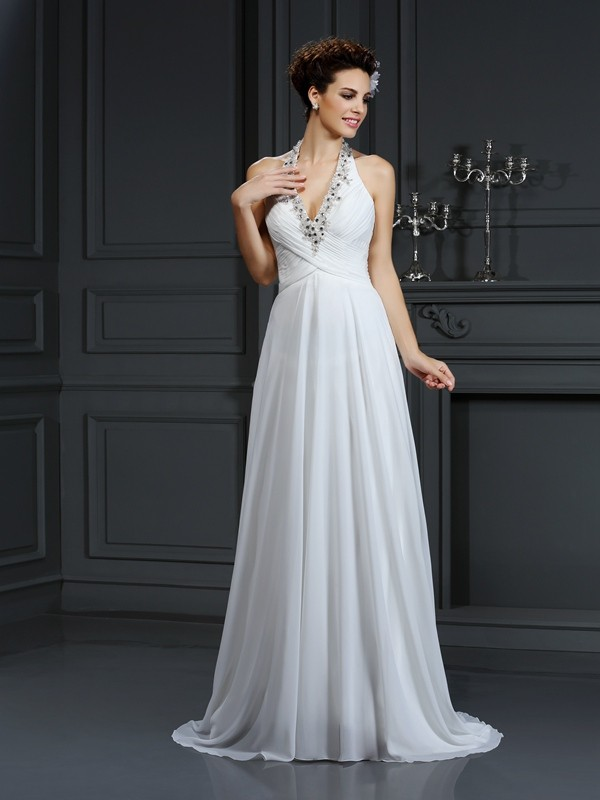 Halter Court Train Ivory Wedding Dresses with Beading