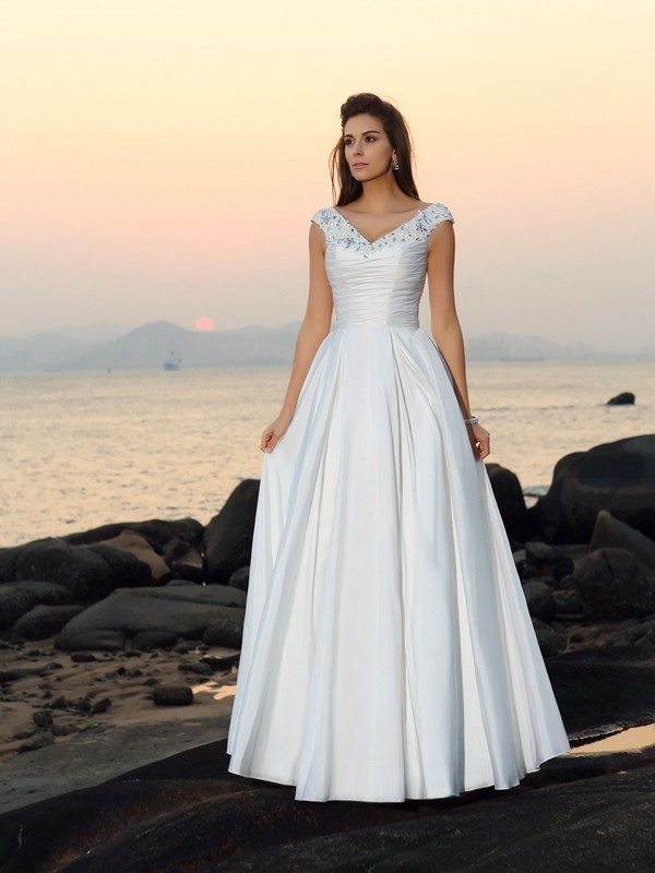 Taffeta A-Line Floor-Length V-neck Ivory Wedding Dresses