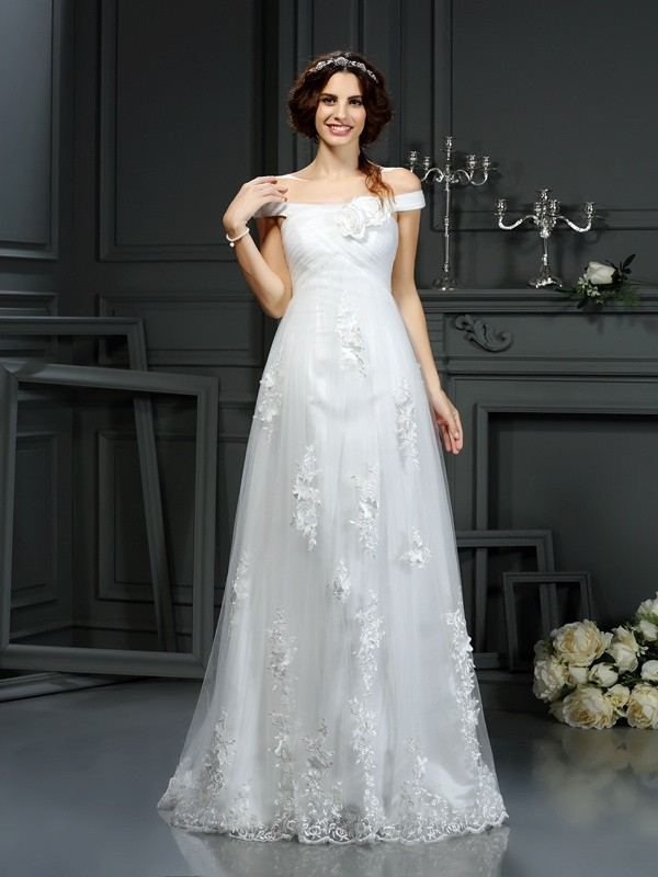 A-Line Off-the-Shoulder Court Train Ivory Wedding Dresses