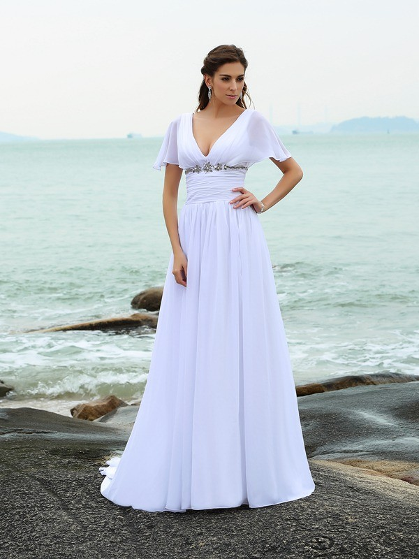 Short Sleeves V-neck Brush Train White Wedding Dresses with Ruffles
