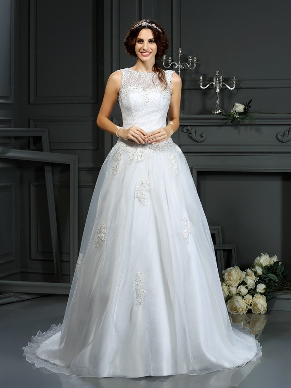 A-Line Scoop Court Train Ivory Wedding Dresses
