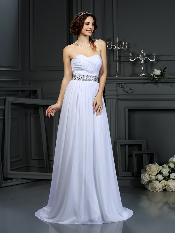 Chiffon A-Line Court Train Sweetheart White Wedding Dresses