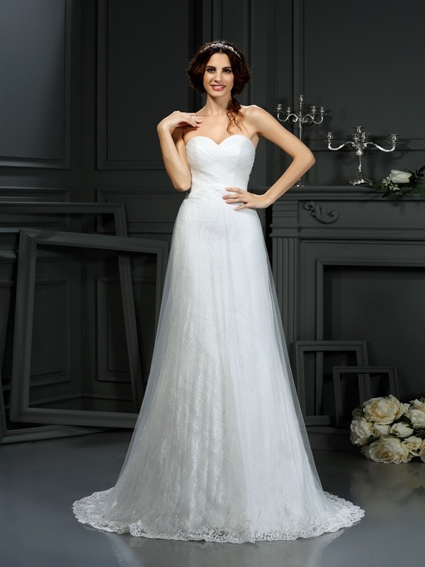 Ivory Sweetheart Net Court Train Wedding Dresses