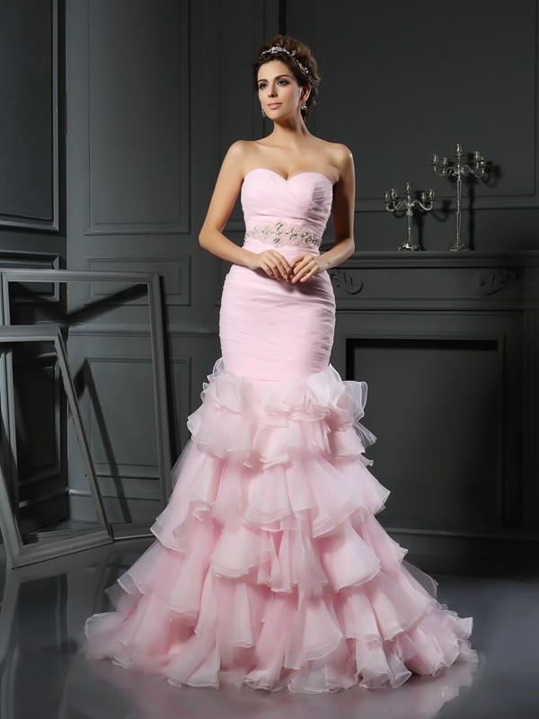Organza Sweetheart Chapel Train Pink Wedding Dresses