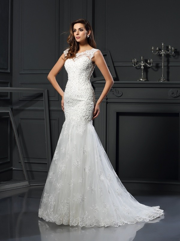 Short Sleeves Mermaid Scoop Chapel Train Ivory Wedding Dresses