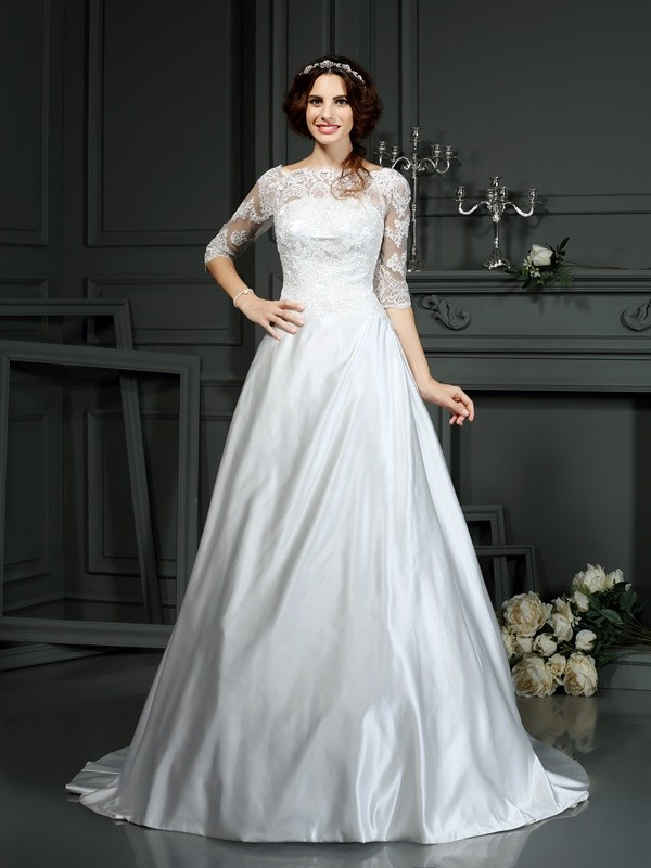 A-Line Bateau Court Train Ivory Wedding Dresses