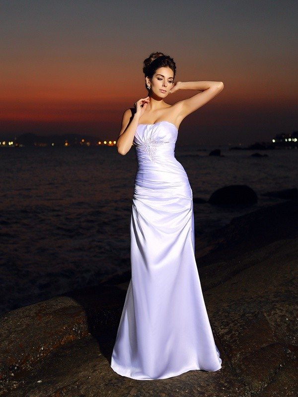Mermaid Sweetheart Chapel Train White Wedding Dresses