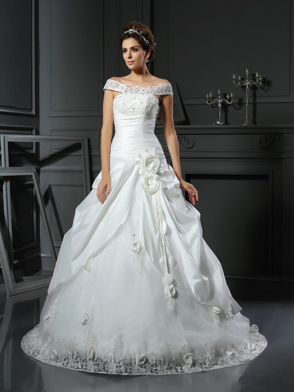 Ivory Off-the-Shoulder Chapel Train Wedding Dresses with Hand-Made Flower