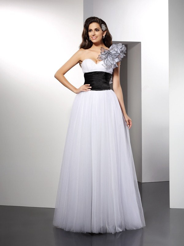Net A-Line Floor-Length One-Shoulder White Prom Dresses