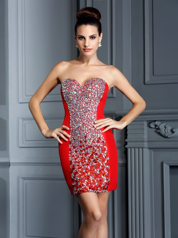Sheath Sweetheart Short/Mini Red Homecoming Dresses