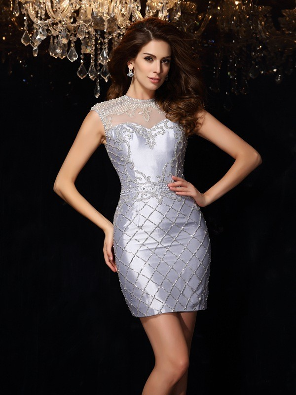Sheath High Neck Short/Mini Silver Homecoming Dresses