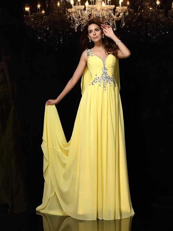 Chiffon Straps Court Train Daffodil Prom Dresses