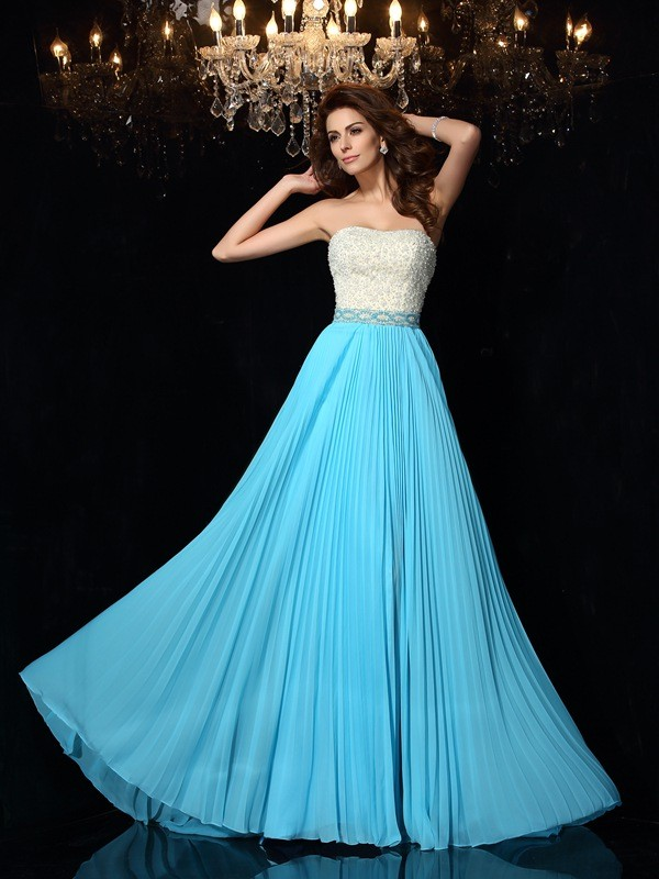 Brush Train Blue Strapless Prom Dresses with Beading